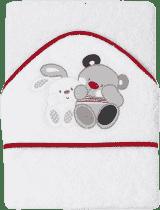 INTERBABY Ręcznik dla dziecka frotte 100x100 przyjaciele niedźwiadek i króliczek – biały z czerwonym