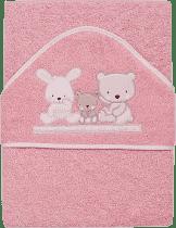 INTERBABY osuška detská froté 100x100 love - ružová