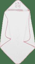 INTERBABY Ręcznik dla dziecka frotte 100x100 trzej przyjaciele – biało-różowy