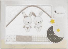 INTERBABY Ręcznik dla dziecka frotte 100x100 trzej przyjaciele – kremowy