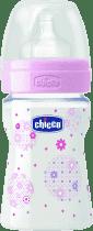 CHICCO Butelka do karmienia, polipropylen, 150 ml, smoczek kauczukowy, 0+, Kwiatek