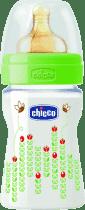 CHICCO Fľaša PP, 150ml, kaučukový dudlík, 0+, včielky, zelená