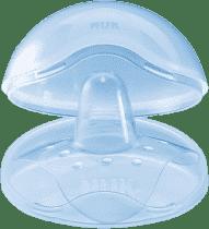 NUK Silikonowe osłonki na piersi + pojemnik, 2 szt., rozmiar M