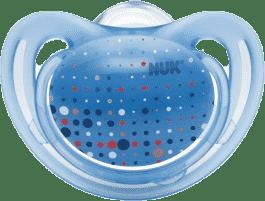 NUK Smoczek FREESTYLE, silikon, rozmiar 2 (6-18 mies.) – jasnoniebieski, kropki