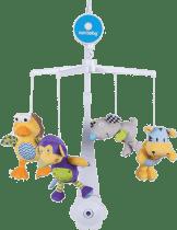 SUN BABY Kolotoč nad postieľku s plyšovými hračkami (vtáčik, myš, opička, tiger)
