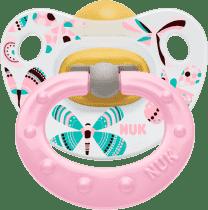 NUK ružový Cumlík Classic HAPPY KIDS, latex, veľkosť 1 (0-6m.)