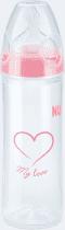 NUK Butelka NEW CLASSIC LOVE PP, 250 ml, silikon, rozmiar 2, M – różowa