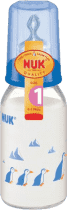 NUK sklenená fľaša 125ml cumlík v1 (silikón)