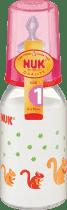 NUK červená sklenená fľaša 125ml cumlík v1 (silikón)