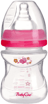 BABY ONO Kojenecká antikoliková láhev, široké hrdlo, 120 ml, ružová