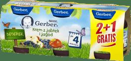 GERBER Krem z jabłek i jagód 3 x 125g