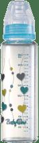 BABY ONO Kojenecká skleněná láhev Standard 240 ml 0m + modrá