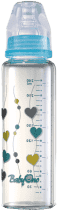 BABY ONO Dojčenská sklenená fľaša Standard 240 ml 0m + modrá
