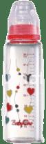 BABY ONO Kojenecká skleněná láhev Standard 240 ml 0m + červená