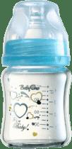 BABY ONO Kojenecká skleněná láhev se širokým hrdlem 120 ml 0m + modrá