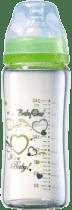 BABY ONO Kojenecká skleněná láhev se širokým hrdlem 260 ml 0m + zelená