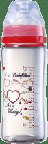 BABY ONO Dojčenská sklenená fľaša so širokým hrdlom 260 ml 0m + červená