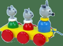 MIVA Tři myšky tahací - barevné dřevo
