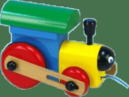 MIVA Lokomotywa/Pociąg drewniany, do ciągnięcia - kolorowe
