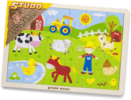 STUDO WOOD Puzzle farma 24 ks