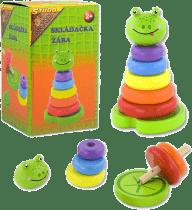 STUDO WOOD Skladačka farebné krúžky - žaba