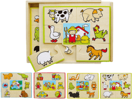 STUDO WOOD Puzzle set 4 ks-krabička