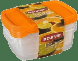 CURVER Dózy na jídlo Food Set Mix 3 x 1.2l, oranžová