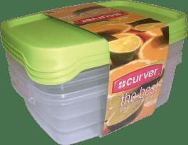 CURVER Pojemniki na żywność Food Set Mix 3 x 1.2l, zielone