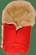 B.O.Z.Z Fusak do kočárku z ovčí vlny - dlouhý vlas, Red / Linen