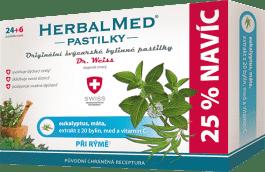 HERBALMED Dr.Weiss Eukalypt+máta+vitamin C 24+6 pastilek při rýmě