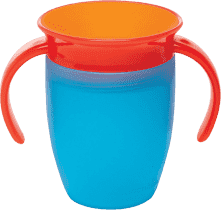 MUNCHKIN - Juniorský netečúci hrnček 360 ° s uškami 207 ml - modrá