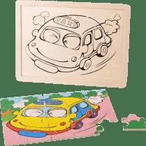 MIKRO TRADING Puzzle drevené dopravné prostriedky - taxík