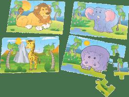 MIKRO TRADING Drewniane puzzle 4w1 safari