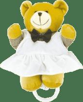 CANPOL Babies Plyšová hrajúci skrinka medvedík v kockovanej košeli - dievča