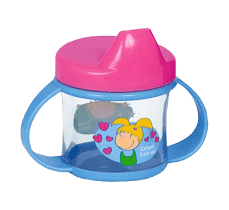 CANPOL BABIES Nevylévací hrnček s uškami 200ml modro-ružová