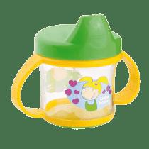 CANPOL BABIES Nevylévací hrnček s uškami 200ml zeleno-žltá