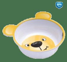 CANPOL Babies Melamínová miska protišmyková s uškami - žltý medvedík