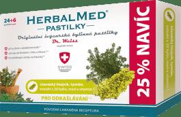 HERBALMED Dr.Weiss Islandský lišajník + tymián + vitamín C 24 + 6 pastilek