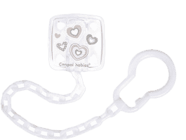 CANPOL Řetízek na šidítko Newborn baby – bílý