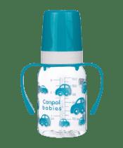CANPOL BABIES Fľaša s jednofarebnou potlačou 120 ml s úchytkami bez BPA modrá