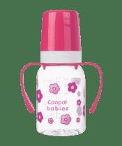 CANPOL BABIES Láhev s jednobarevným potiskem 120 ml s úchyty bez BPA růžová