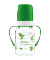 CANPOL BABIES Fľaša s jednofarebnou potlačou 120 ml s úchytkami bez BPA zelená