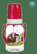CANPOL Babies Fľaša s potlačou kontinentmi 120 ml s úchytkami bez BPA - červená
