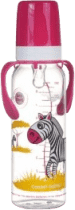 CANPOL Babies Fľaša s potlačou kontinentmi 250 ml s úchytkami bez BPA - zebra