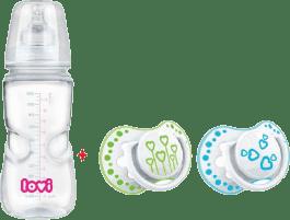 LOVI Láhev 330ml 0% BPA SUPER VENT s šidítky LOVI Basic 6-18m ZDARMA – modrá, zelená