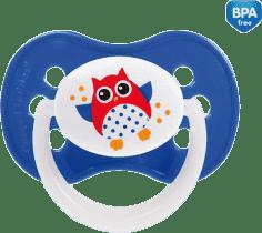 CANPOL Cumlík silikónové symetrické 6-18 m SOVA - tmavo modrá