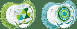 LOVI Cumlík silikónové dynamické LOVI ETNO 3-6m 2ks - modro / zelené