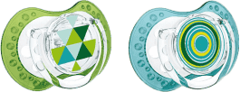 LOVI Cumlík silikónové dynamické LOVI ETNO 6-18m 2ks - modro / zelené