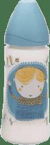 SUAVINEX Butelka szeroki otwór pp 360 ml lateksowy ustnik – jasnociemnoniebieska