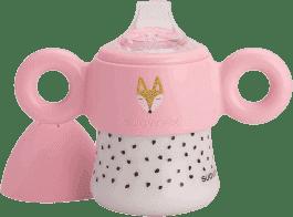SUAVINEX První - láhev s ouškama / nerozlitná savička +6m hello fox - růžová